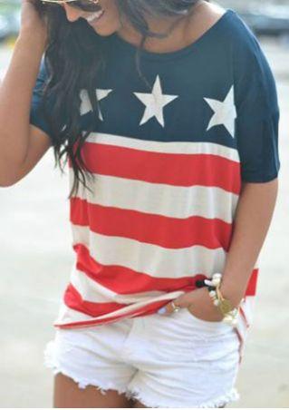 Star Printed Striped O-Neck T-Shirt