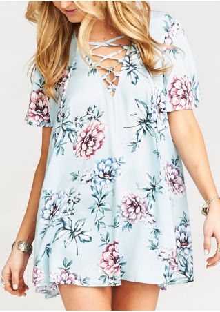 Floral Lace Up Mini Dress without Necklace