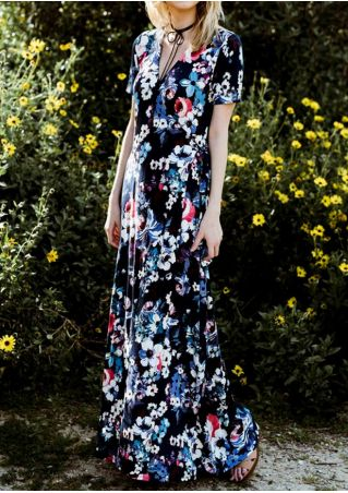 Floral V-Neck Short Sleeve Maxi Dress without Necklace