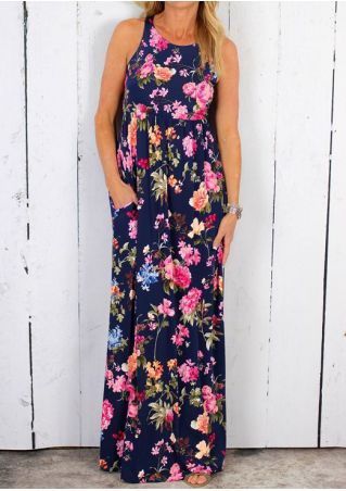 Floral Sleeveless O-Neck Maxi Dress