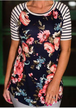 Floral Striped Short Sleeve Baseball T-Shirt