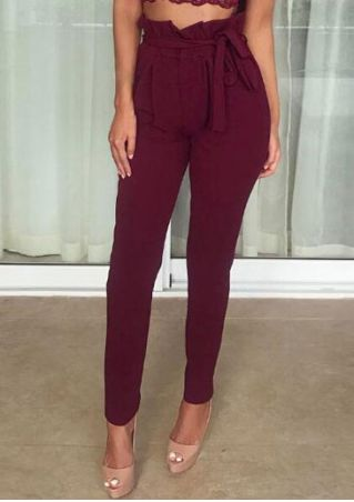 Solid Pocket Ruffled Pants with Belt
