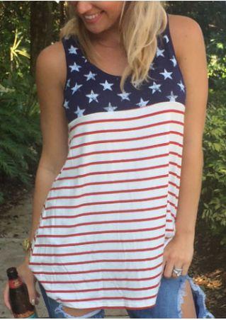 American Flag Striped Star Tank American