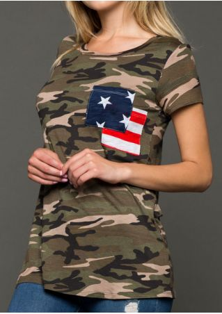 Camouflage Pocket American Flag T-Shirt Camouflage