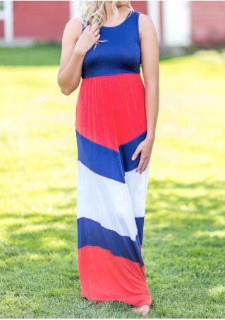Color Block O-Neck Maxi Dress Color