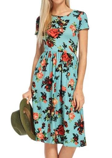 Rochie midi, fashion, slim fit, plisată, cu imprimeu floral și mâneci scurte