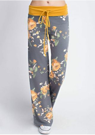 Floral Splicing Drawstring Pants