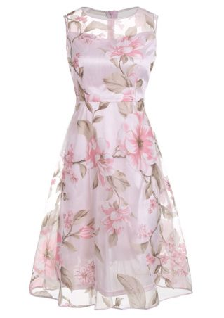 Floral Splicing Sleeveless Casual Dress