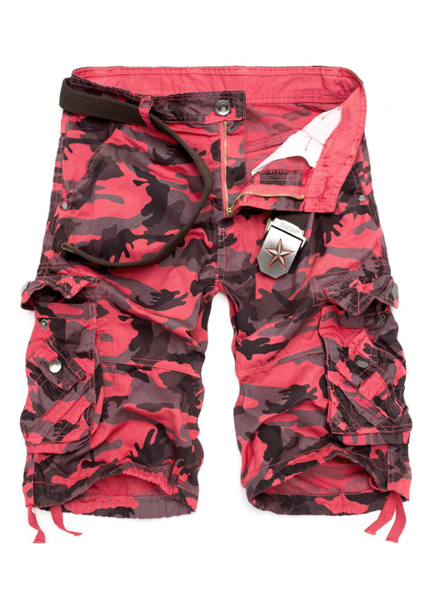 d04e6f7cd3 Camouflage Printed Pocket Button Shorts without Belt - Fairyseason