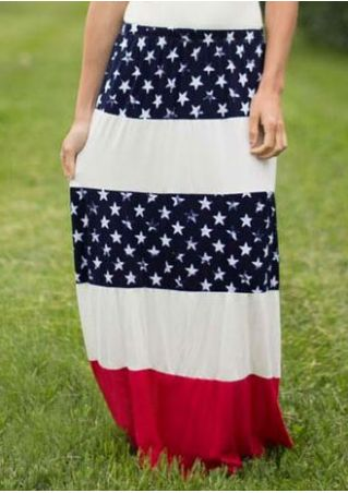 Star Printed Color Block Skirt