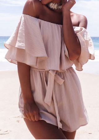 Solid Off Shoulder Romper with Belt without Necklace
