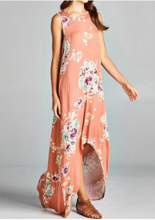 Floral Pocket Asymmetric Maxi Dress