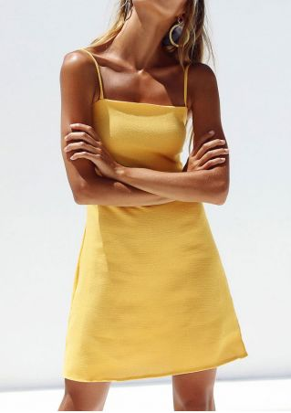 Solid Zipper Mini Dress without Necklace