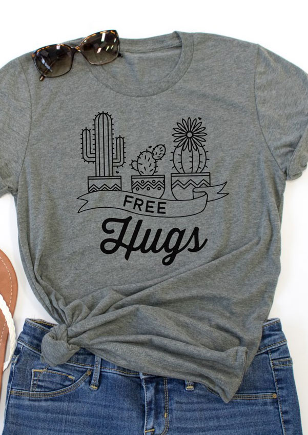 Free Hugs Cactus O Neck T Shirt Fairyseason