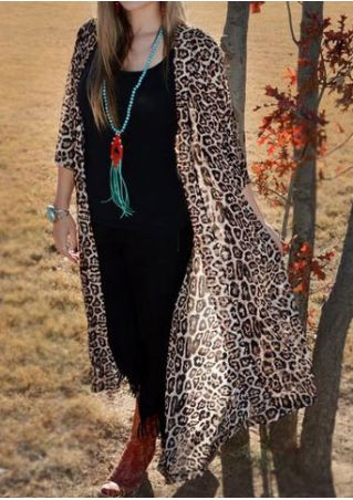Leopard Printed Cardigan without Necklace