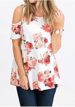 Floral Cold Shoulder Blouse without Necklace