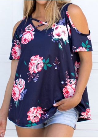 Floral Criss-Cross Cold Shoulder Blouse without Necklace