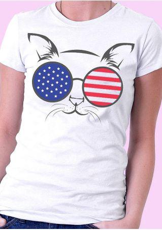 American Flag Printed Glasses T-Shirt American