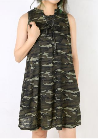 Camouflage Printed Lace Up Pocket Mini Dress Camouflage