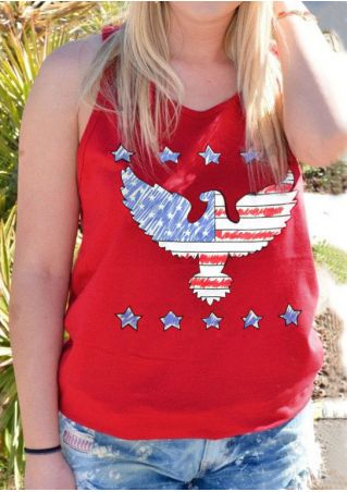 American Flag Printed Eagle Tank American
