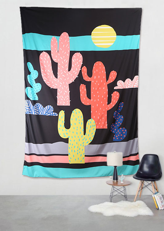 Image of Cactus Printed Rectangle Tapestry