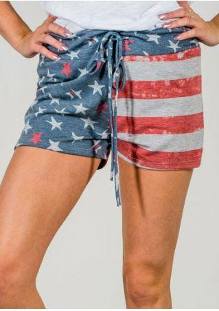 American Flag Printed Drawstring Shorts