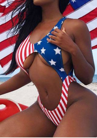 American Flag Hollow Out Backless Swimsuit