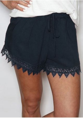 Solid Lace Splicing Drawstring Shorts
