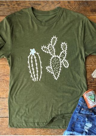 Cactus Printed Short Sleeve Fashion T-Shirt Cactus