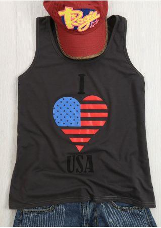 I Love USA Printed Tank