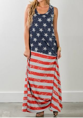 American Flag Printed Star Maxi Dress