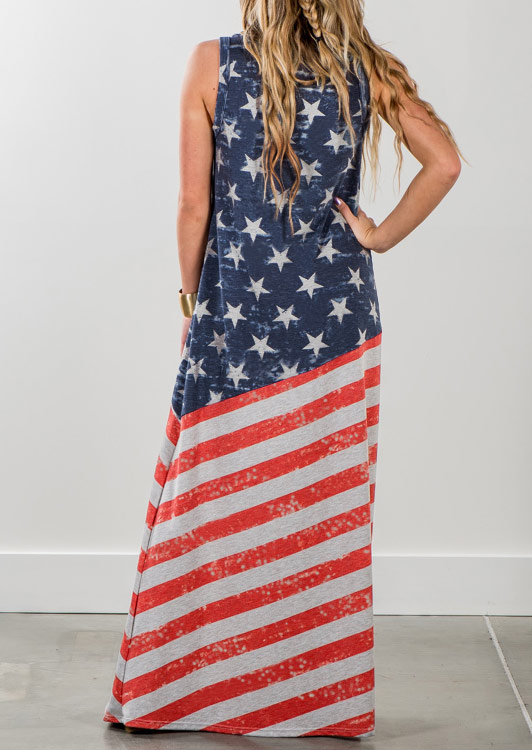 Image of American Flag Printed Star Maxi Dress