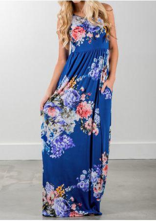 Floral Pocket O-Neck Maxi Dress