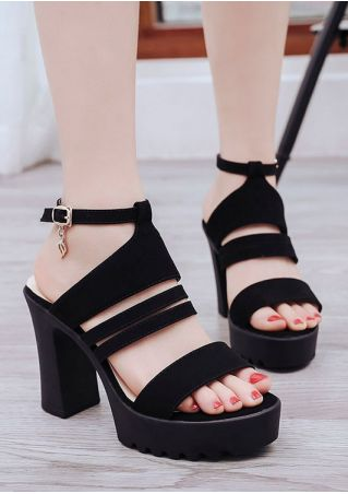 Solid Strappy Ankel Strap Heeled Sandals
