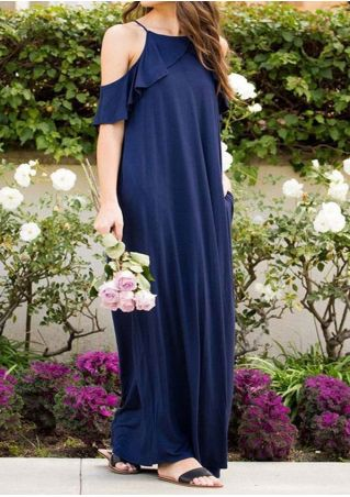 Solid Cold Shoulder Flouncing Maxi Dress without Necklace