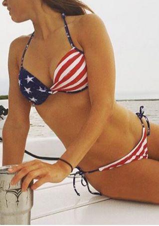 American Flag Printed Sexy Bikini Set