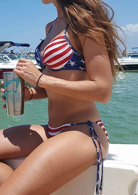 Image of American Flag Printed Sexy Bikini Set