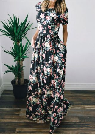 Floral Ruffled O-Neck Maxi Dress