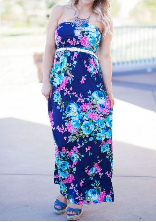 Floral Strapless Maxi Dress without Necklace and Belt