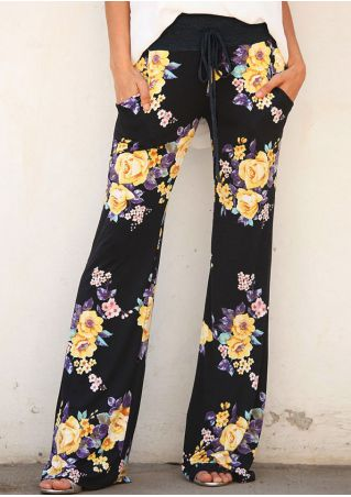 Floral Pocket Drawstring Flare Pants