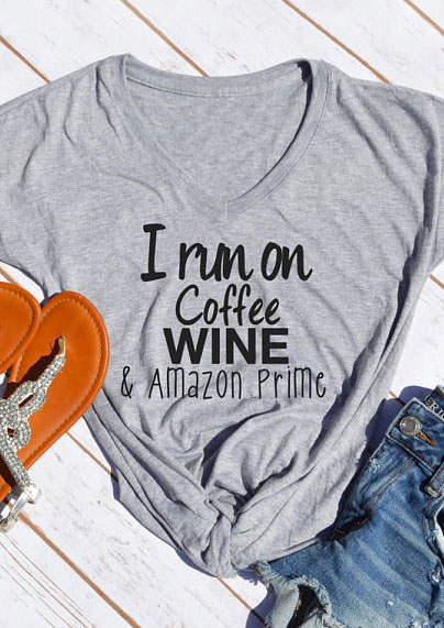 i run on coffee wine amazon prime t shirt fairyseason. Black Bedroom Furniture Sets. Home Design Ideas