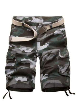 Camouflage Pocket Zipper Shorts without Belt