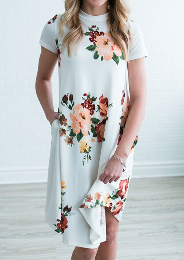 Rochie midi, elegantă, casual, slim fit, cu imprimeu floral și mâneci scurte