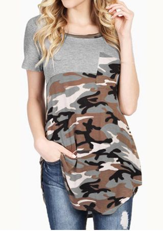 Camouflage Splicing Pocket O-Neck T-Shirt without Necklace Camouflage