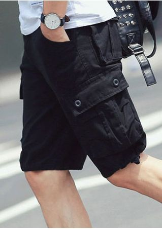 Solid Pocket Zipper Casual Shorts