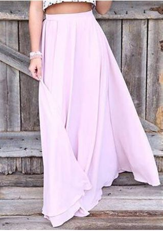 Solid A-Line Casual Long Skirt