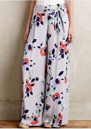 Floral Wide Leg Pants with Belt