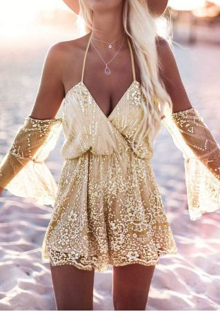 Sequined Mesh Splicing Halter Romper without Necklace