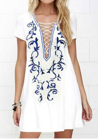 Printed Lace Up Short Sleeve Mini Dress