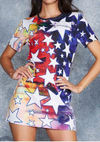 Starry Star O-Neck Mini Dress